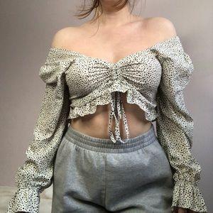 SHEIN Polka-Dot Long Sleeve Crop Top